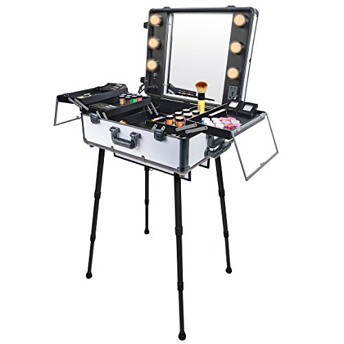 SHANY Studio To Go Makeup Case with Light Pro Makeup Station, Off White