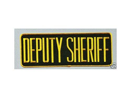 Deputy Sheriff Police Jacket Uniform BACK PATCH Badge Emblem 11X4 Gold on Black