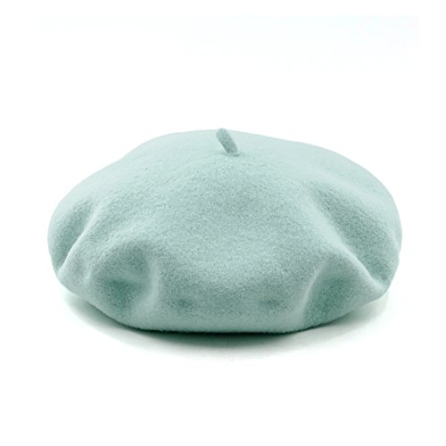 (JOOWEN Women's Vintage Classic French Artist Solid 100% Wool Beret Hat Beanie Cap (Mint Green))
