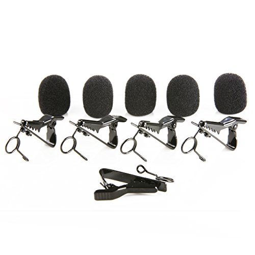 Movo MCW5 5X Foam Windscreen & Lapel Clips for 6-7mm Lavalier Microphones Including PM10, PM20, PM20-S, GM100, WMIC80, WMIC70, WMIC50, WMIC10, USB-M1, LV4 & LV1, Saramonic UWMIC10, UWMIC9, SR-WM4C (Replacement Clip Mic)