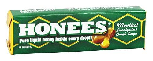 Honees - Liquid Honey Menthol Euclayptus Drops - 9 Lozenges (pack of 3)