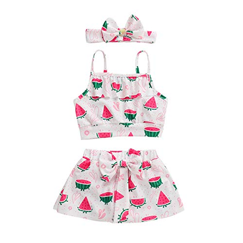 (Toddler Baby Girl Watermelon Halter Outfits Set Strap Crop Tops+Bow Short Skirt Pants Clothes Set (Pink, 3-4 Years))