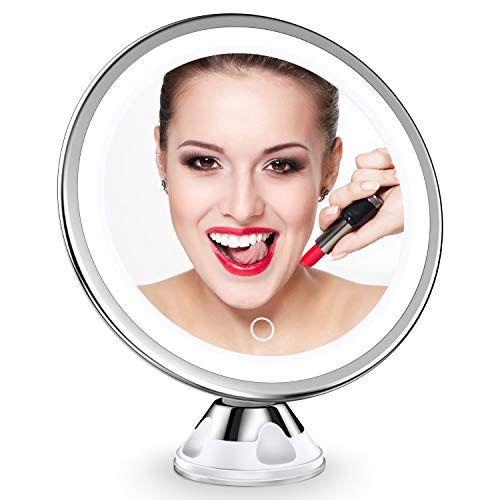 Upgraded 10x Magnifying Lighted Makeup Mirror with Touch Control LED Lights, 360 Degree Rotating Arm, and Powerful…