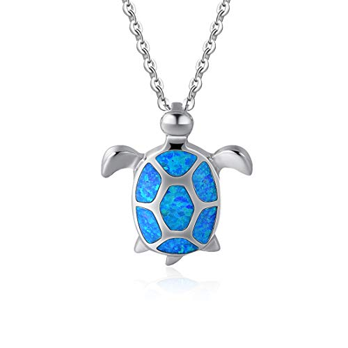 Fancime 925 Sterling Silver Sea Turtle Pendant Necklace Blue Created Opal Jewelry for Women Girls -
