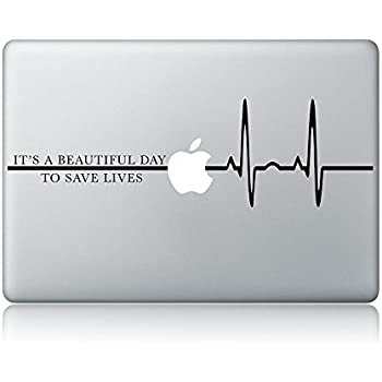 Derek shepherd quote its a beautiful day to save lives greys anatomy laptop apple macbook vinyl decal sticker apple mac air pro laptop sticker