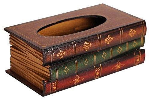 Elegant Hand Crafted Wooden Scholar's Antique Book Tissue Box Dispenser