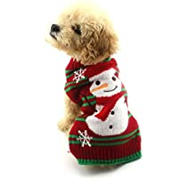 Gotd Christmas Pet Dog Christmas Snowman Snowflak Clothes Puppy Winter Sweater Costume Coat (M, Red)