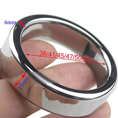 CHAOHUYIFANG Perfect Stainless Steel Penis Ring Cock Rings Penis Lock Device Erection Enhancer Sex Toys for Men R20 Dia 47mm