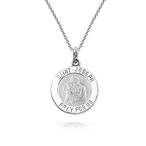 (Religious Medal Medallion Saint Joseph Parton Of Peaceful Passing Pendant Necklace For Men Women 925 Sterling Silver)