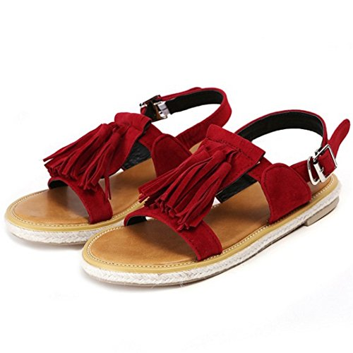 TAOFFEN Women Fashion Ankle Strap Buckle Slingback Flat Summer Sandals with Fringe Red SXAJz