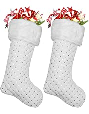 Atiming 2pcs White Faux Fur Christmas Stockings White and Silver 22 inches Plush Xmas Stockings with Silver Sequins Christmas Fireplace Hanging Stockings Xmas New Year Holiday Decoration (S-C, 56cm)