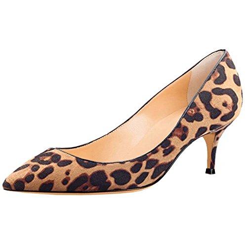 Naisille Leopardi Kitten Pumput Kengät Heels Teräväkärkiset Mokka Kmeioo Toimisto Naisten Luistaa Pieni AdqnxvC5