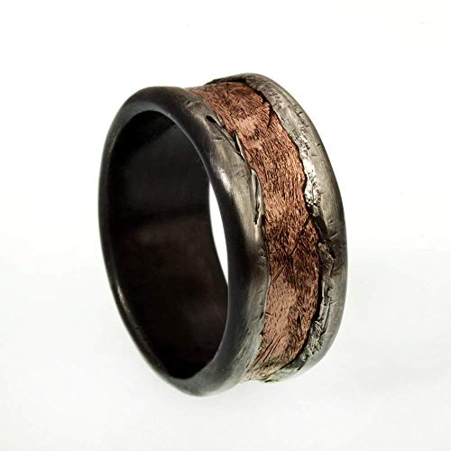 Rustic Men's ring, Copper Men's Wedding Band, Men's Silver & Copper Ring, Large Unique men's ring, Gift for men, 12 mm ring, Wide wedding band, RS-1161