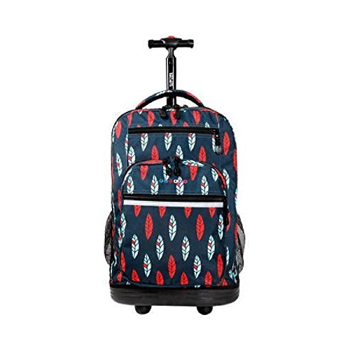 Fine Bird Feathers Patterned Lightweight Laptop Rolling Backpack Case, Graphic Flying Animals Print, Multi Compartment, Fashionable, Softsided, Checkpoint Friendly Travel Bag, Red, Blue, Size 19.5'' by S & E