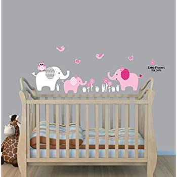 Girls Animal Decal, Balloon And Elephant Wall Stickers, Baby Pink Wall Decal