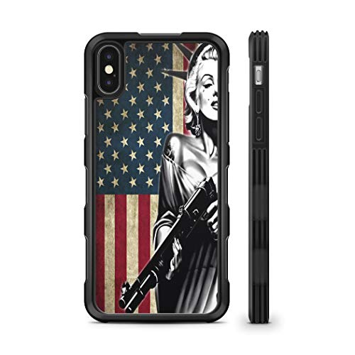 407Case Compatible with iPhone X Marilyn Monroe Statue of Liberty US Flag Shotgun Hyper Shock Protective Rubber TPU Phone Case (iPhone - Statue Monroe