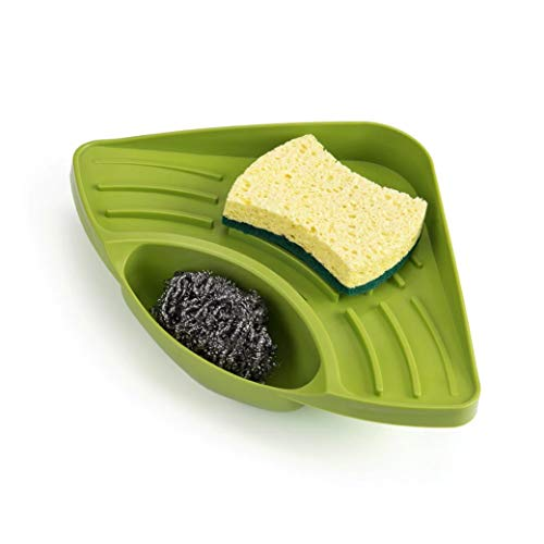 CartUp | Triangle Kitchen Sink Corner Caddy/Organizer- Holder for Sponge, Soap, Cleaning Brush Ball- Sucker Type (Green) by CartUp
