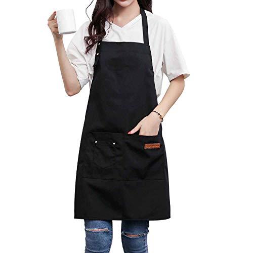 - Homsolver Two Pockets Adjustable Bib Adult Apron - Extra Long Ties - Kitchen Apron, Money Apron, Waitresses Apron - Cooking Kitchen Aprons Women Men (Black, One Size)