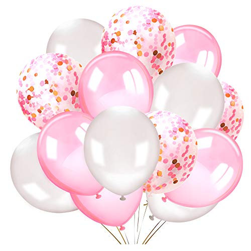 Konsait 50 Pieces 12 Inches Latex Balloons Confetti Balloons Pink and White Balloons Helium Balloons Party Supplies for Wedding Birthday Girl Baby Shower Party -