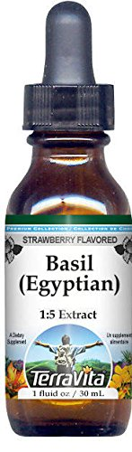 Strawberry Basil (Basil (Egyptian) Glycerite Liquid Extract (1:5) - Strawberry Flavored (1 oz, ZIN: 522078) - 2 Pack)