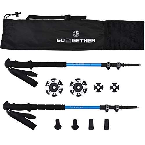 G2 GO2GETHER Expedition Trekking Poles Telescopic Aircraft Aluminum Alloy High Density Skin-Friendly Foam Handle Auto-Adjustable Strap Quick Flip Lock Snow Baskets Attached Pack of 2 Poles
