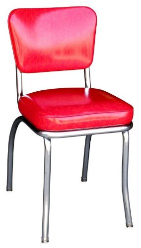 Richardson Seating Retro 1950s Chrome Diner Side Chair In Cracked Ice Red