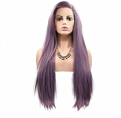 Peluca de pelo natural con parte lateral, color morado oscuro/lila/lavanda, pelo largo de vacaciones, peluca lisa y sedosa, media hecha a mano, alta temperatura, arrastre Queen 61 cm: Amazon.es: Belleza