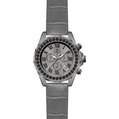 Invicta Grand Diver Chronograph Black Dial Grey Leather Mens Watch (Invicta Grand Diver Chronograph)
