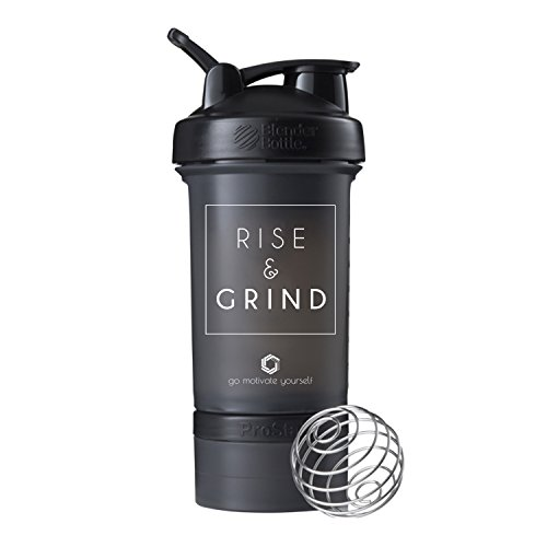 Rise and Grind Blender Bottle ProStak, 22oz Protein Shaker cup with Twist N' Lock Storage Containers (Black)