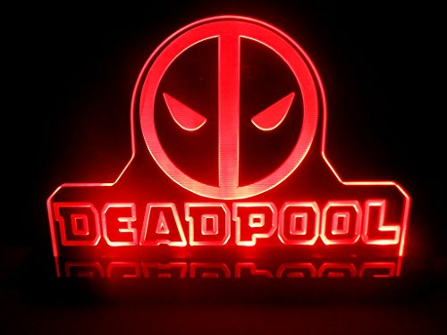 [Dead Pool Super Hero Mavel LED Night Light Desk Lamp Kids Room Game Comic] (Black Full Cut Robe Costumes)