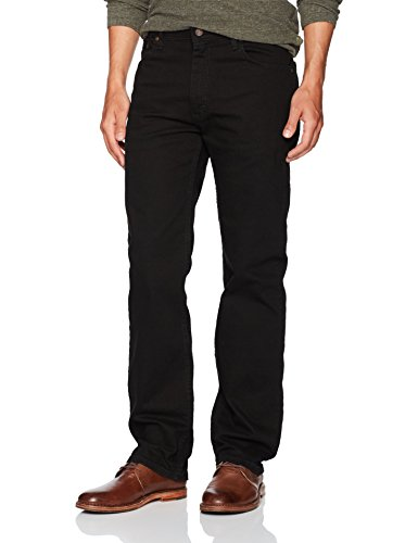 Wrangler Men's Regular Fit Comfort Flex Waist Jean, Black, ()