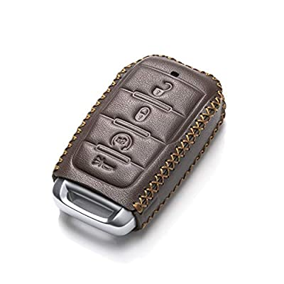 Vitodeco Genuine Leather Keyless Entry Remote Control Smart Key Case Cover with Leather Key Chain for 2020-2020 RAM 1500 (4-Button, Brown): Automotive