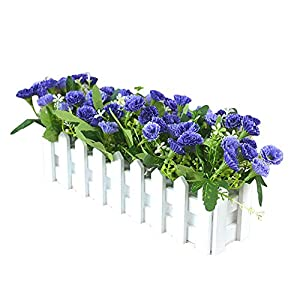 AkoMatial 1 Bouquet Artificial Carnation Flower Wooden Fence DIY Stage Props Home Party Holiday Decor 46