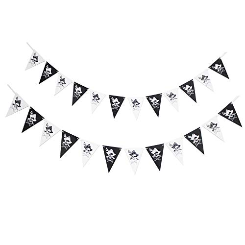 Jolly Roger Pirate Pennant Banner - Novelty Black/White Skull Halloween Graduate Birthday Party Décor - Mexcian Day of The Death Skeleton Derocation