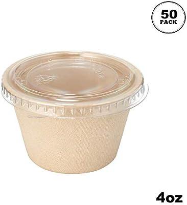 Paquete de 50] 4 oz condimento compostable Souffle Bagasse tazas ...