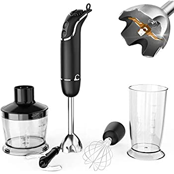 KOIOS oxasmart 800W 12-Speed Immersion Hand Blender Set Includes BPA-Free Food Chopper / Egg Beater / Beaker, Titanium Coating Blade, Ergonomic Grip Detachable, Comfortable Silicone Button,Black