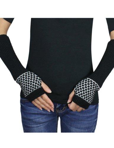 Acrylic Fingerless Gloves - Dahlia Women's Honeycomb Pattern Acrylic Fingerless Arm Warmer Gloves - Black