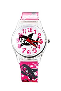 DF037 Fashion Shark Print Analog Sports Watch Teen Boys Girls Watch Gift