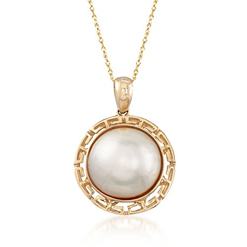 Ross-Simons 15mm Mabe Pearl and Greek Key Pendant Necklace in 14kt Yellow Gold