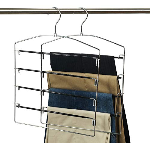 Nature Smile Clothes Pants Hangers 2pack-Multi Layers Metal Pants Slack Hangers,Non-Slip 4-Tier Swing Arm Pants Hangers Rack Closet Storage Organizer for Trousers Jeans Scarf Skirts Hanging -