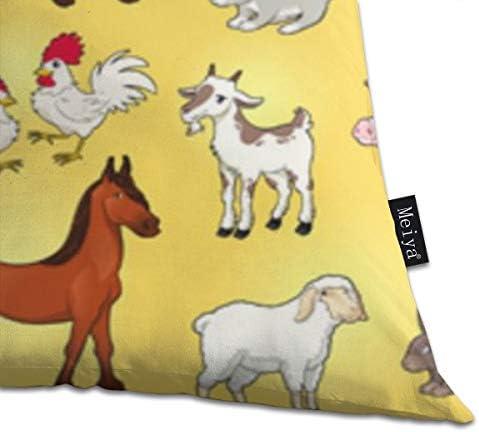 おかしい農場の動物は、枕カバーリビングルーム、ソファ、ベッド18 x 18インチの装飾的な正方形のクッションケースを投げます