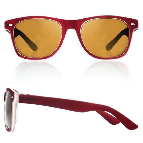 de 4sold con diseño TM Gafas negro sol Negro cristales ahumados ochentero Marron unisex wqwaRxF