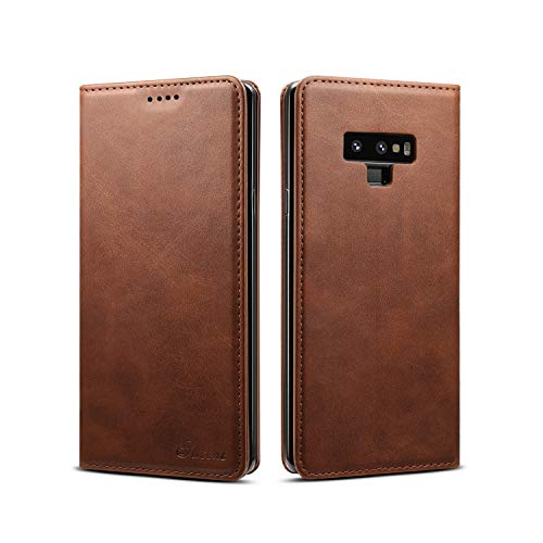 Galaxy Note 9 Leather Wallet Case, Bpowe Ultra Slim Business Style Folding Flip Case with Kickstand Card Slots Magnetic Closure Protective Cover for Samsung Galaxy Note 9 (Brown) by Bpowe