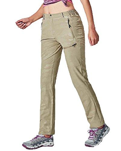 BIYLACLESEN Women Stretch Quick Dry Side Elastic-Waist Track Running Sports Pants Khaki by BIYLACLESEN