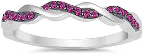 Sterling Silver Simulated Ruby Braided Infinity Cubic Zirconia Ring Sizes 4-10