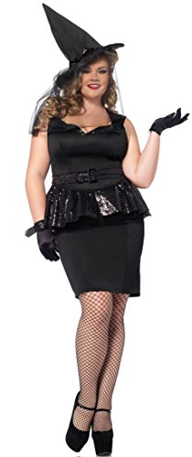 [Leg Avenue Women's Plus-Size 4 Piece Vintage Witch Costume, Black, 3X/4X] (Sexy Witch Costumes Plus Size)