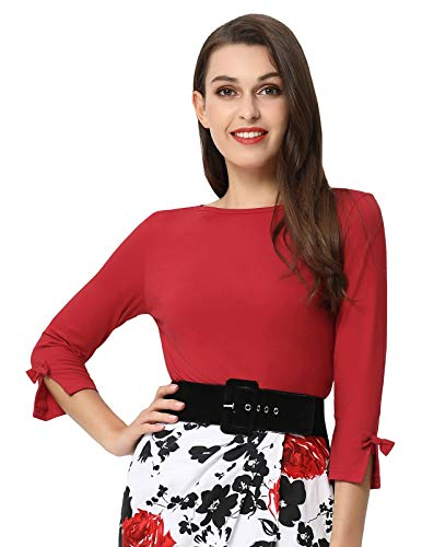 Belle Poque Women's Summer Crew Neck Short Sleeve Bow-Knot Basic T-Shirts Red Size L BP730-2