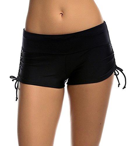 Coauan Women Swim Boyshorts Beach Bikini Bottoms with Adjustable Ties (M, Black) (Bikini Shorts Swimwear)