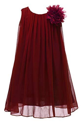 Bow Dream Chiffon Bridesmaid Flowers Girls Dresses 4 Wine ()
