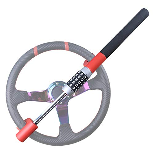 (OKLEAD Universal Keyless Steering Wheel Lock 5 Password Coded Twin Hook Lock)